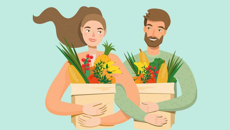 Mand og kvinde lever en vegansk livsstil